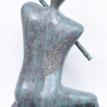 Krishna & The Flute-Bronze Look in Fibre Glass, 16*10*25 Inches