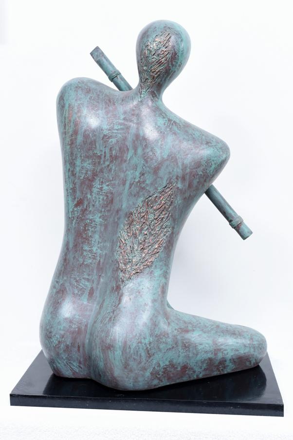 Krishna & The Flute-Bronze Look in Fibre Glass, 16*10*25 Inches