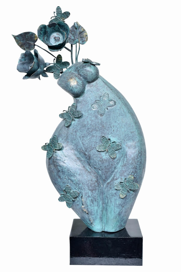 La chasse aux papillons (The Butterfly Hunt) in Fibre Glass, 13*7*29 Inches