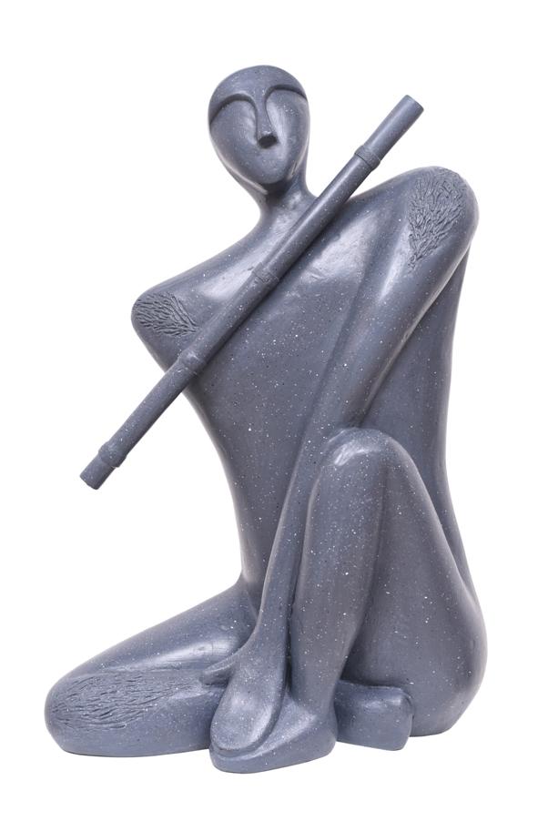 Krishna & The Flute-Grey in Fibre Glass, 16*10*25 Inches