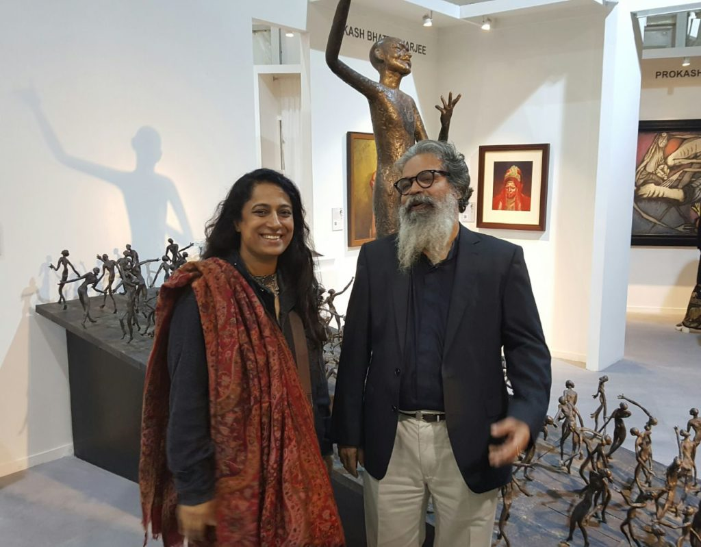 At India Art Fair with sculptor K S Radhakrishnan